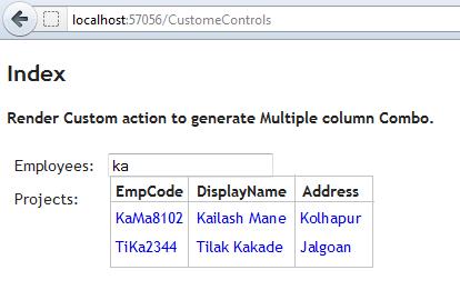 Create Multiple Column Autocomplete/Combobox in ASP NET MVC 3