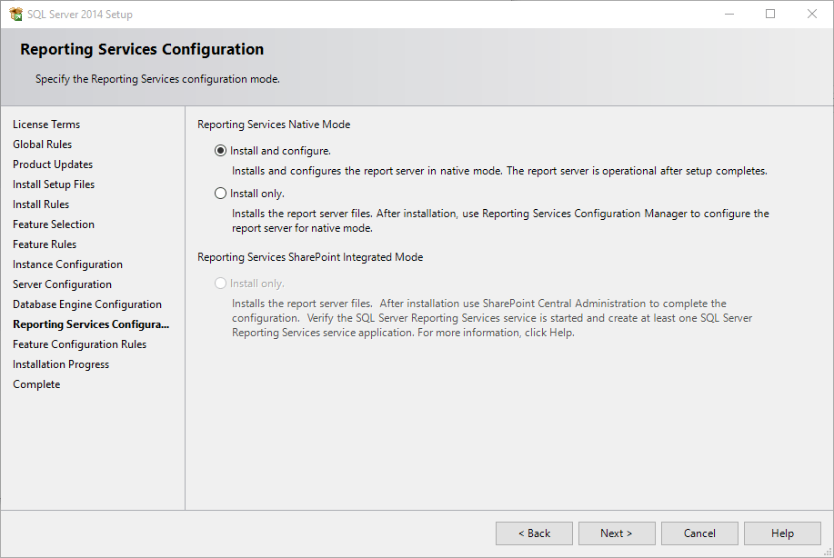 Installation of SQL Server Express 2014 on Windows 10