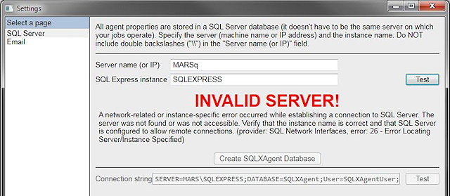 Settings form - showing invalid server