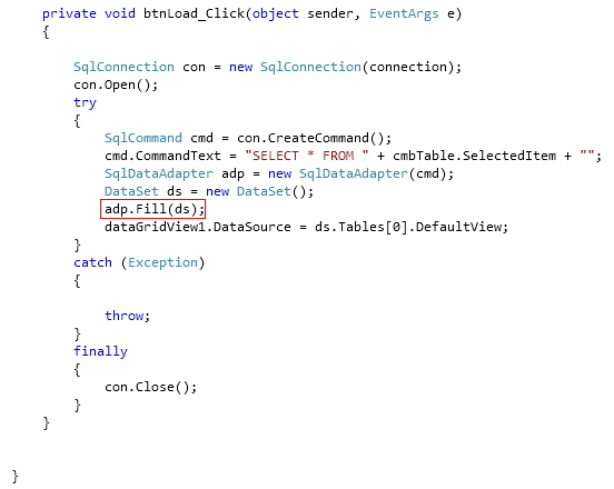 Five different overloads of the DataAdapter Fill() method