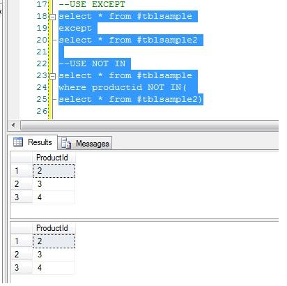 EXCEPT vs NOT IN in SQL Server - CodeProject