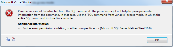 Arbitrary parameters in SSIS for OLE DB - CodeProject