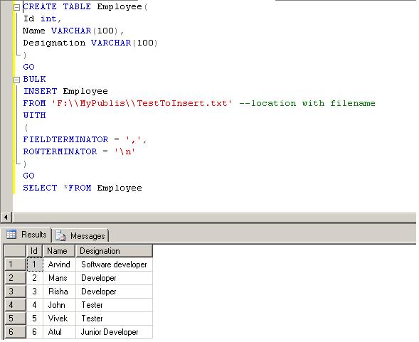 Import CSV or txt File Into SQL Server Using Bulk Insert