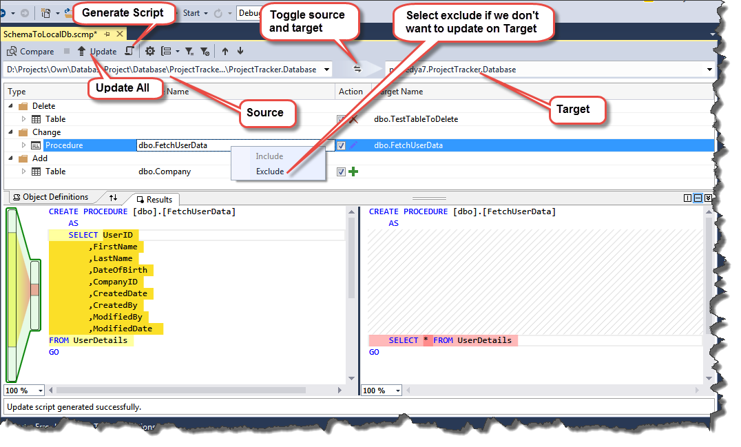 Sql server database development in visual studio codeproject compare database ccuart Images