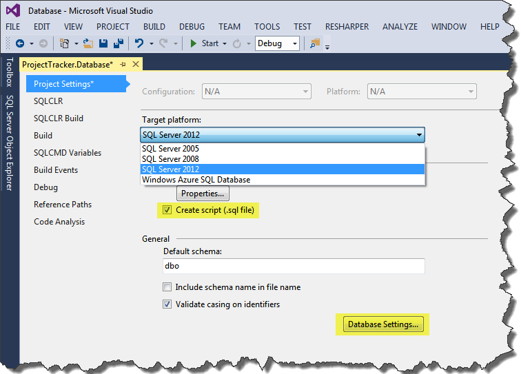 Sql server database development in visual studio codeproject we can also change the database collations and other setting from the database settings button ccuart Images
