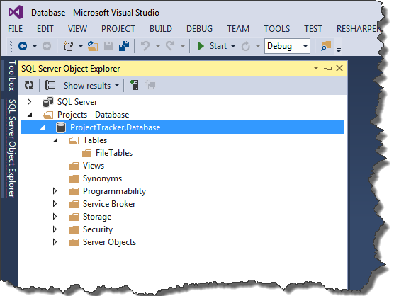 Sql server database development in visual studio codeproject if we observe the sql server object explorer at the right side panel we can find a blank database being created with no objects in it ccuart Image collections