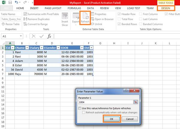 Executing A Stored Procedure From Excel Sheet Codeproject