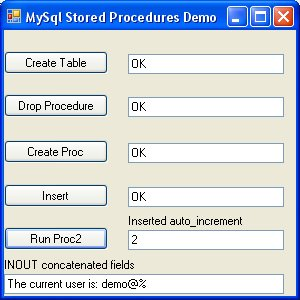 Working C# code for MySql Stored Procedures IN, OUT, and INOUT