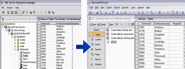 Creating and populating MS Access files from other databases, using