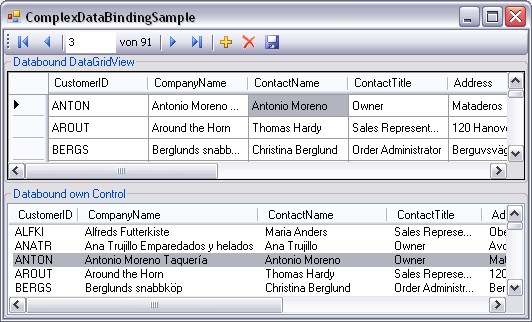 Mainwindow of ComplexDataBindingSample