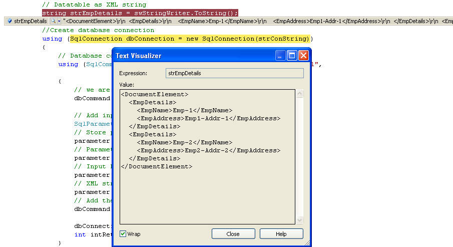 ADO NET DataTable as XML parameter to an Oracle/SQL Server