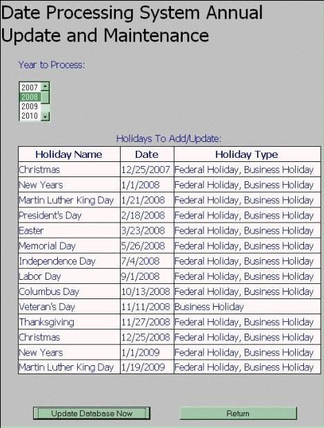 Building a Business Day and Holiday Database Subsystem - CodeProject