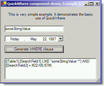 Very basic example how to use QuickWhere