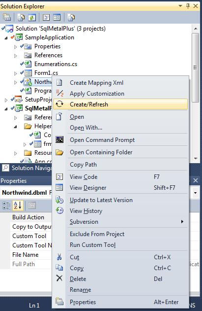 Dbml not updating designer cs