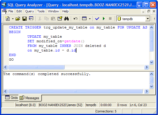 Create a modified on column in sql server codeproject for Sql table design query