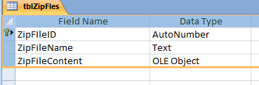 Access database table fields