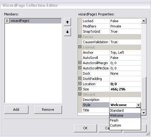 WizardPage Collection Editor.
