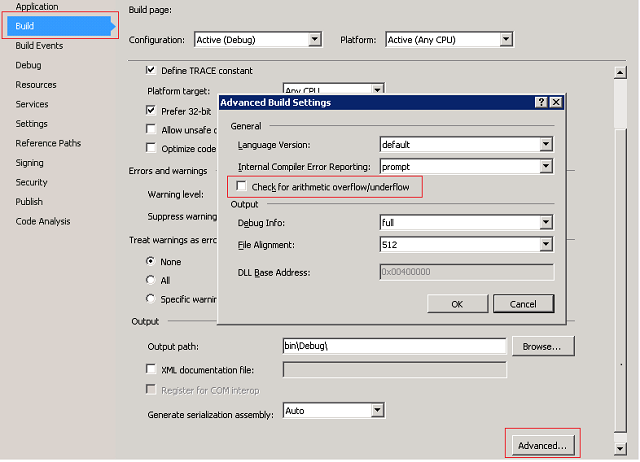 C# Project Settings for arithmetic overflow