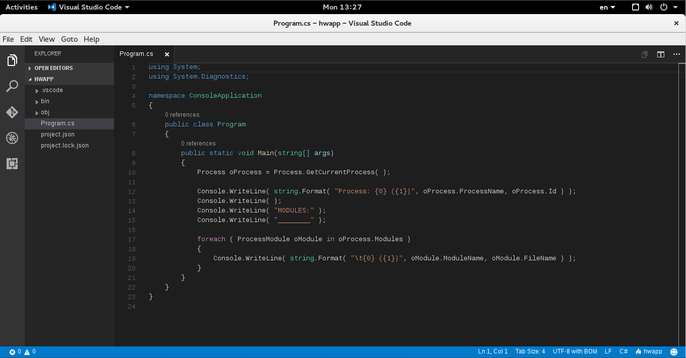 VS Code on Fedora 23/Editing C# code