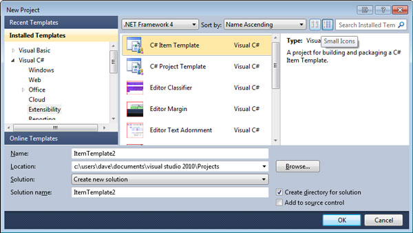 extending visual studio part 3 - item templates