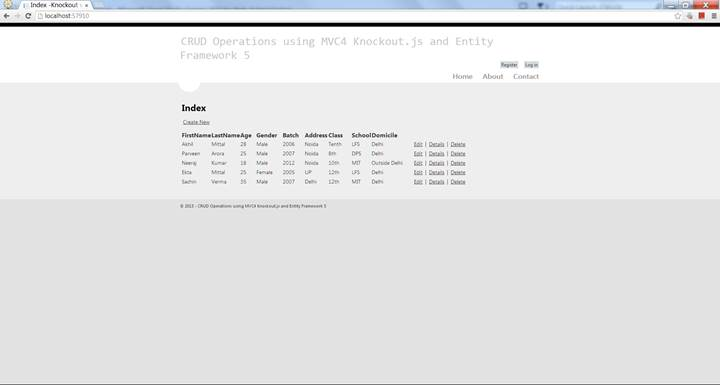 Complete CRUD Operations in MVC 4 using Entity Framework 5