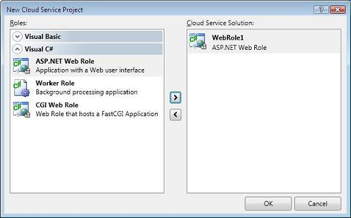 Select Web Role for Cloud Service Project