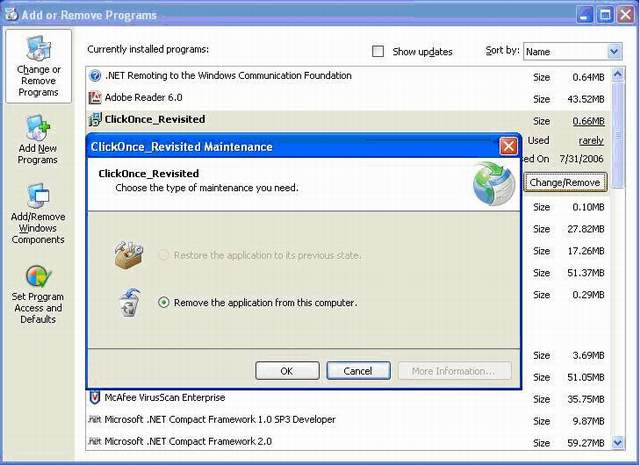 Restore Application to Previous State using Clickonce