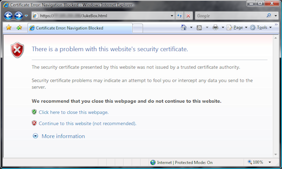 Silver JukeBox Client - Invalid certificate warning in Internet Explorer
