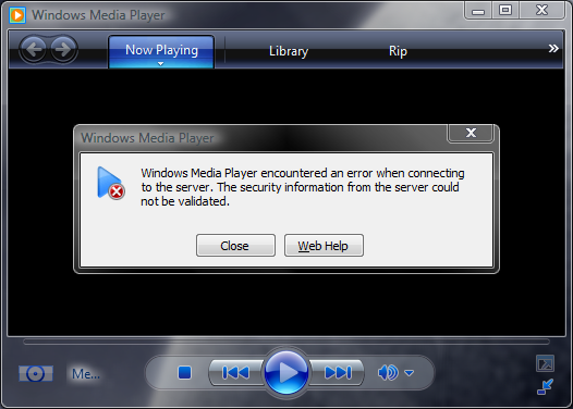 Silver JukeBox Client - Windows Media Player error