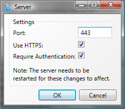 Silver JukeBox Server - Image of the settings dialog on server