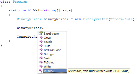 Extension method for BinaryWriter