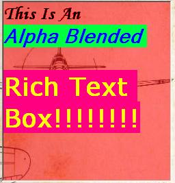 The AlphaRichTextBox. Extended RichText control and Transparency.