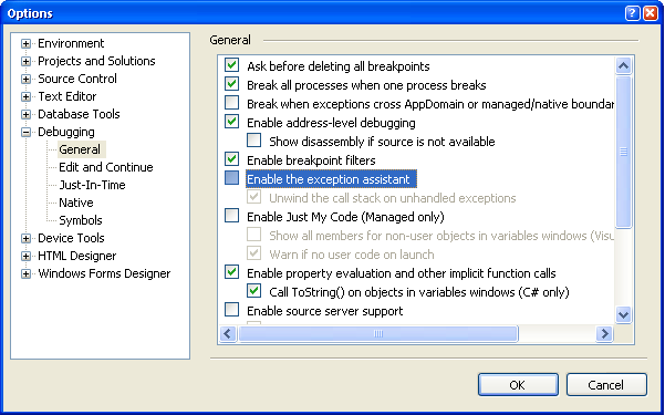 VS 2005 Options Dialog
