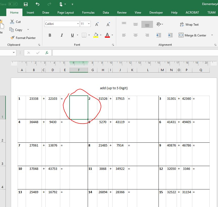 Elementary Arithmetic Generator (Excel Template) for Kids Math