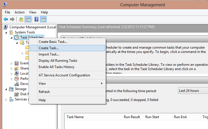Step 2 : double click on Task Schedular -> right click Task Schedular ...
