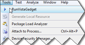 Run gadget as a Visual Studio Add-In