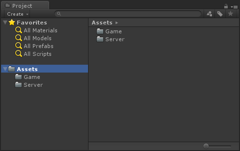 lets create a new empty unity project in your project tab under assets create two new folder one should be called game and the other server