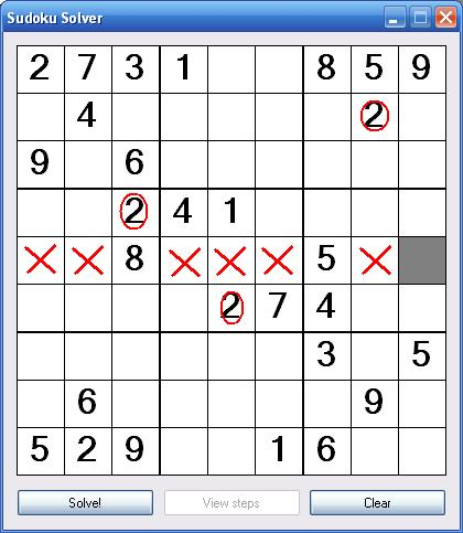 Sudoku Row Solution Cell