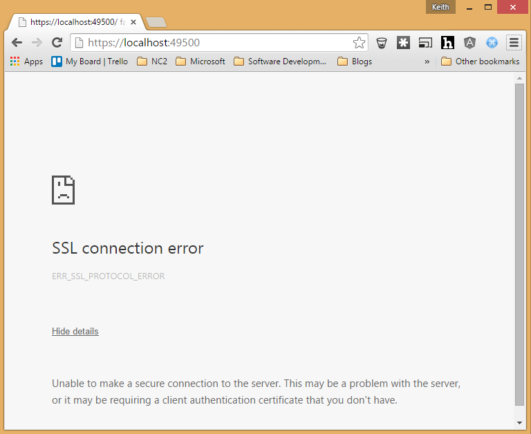 Ssl Connection Error When Debugging Via Localhost In Google Chrome