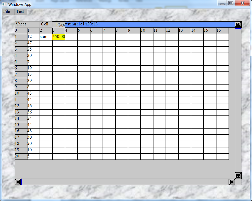 GtCalc: A C++ Spreadsheet Control for GT Graphical User