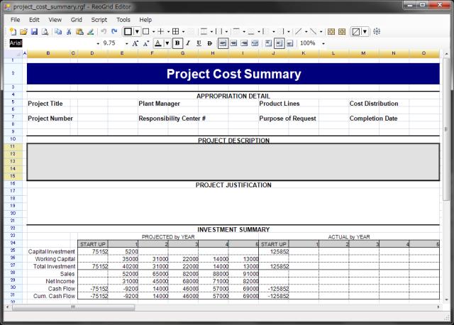 شبكة البيانات Spreadsheet Control التى تحتوي على جميع وظائف ملف Excel. 01