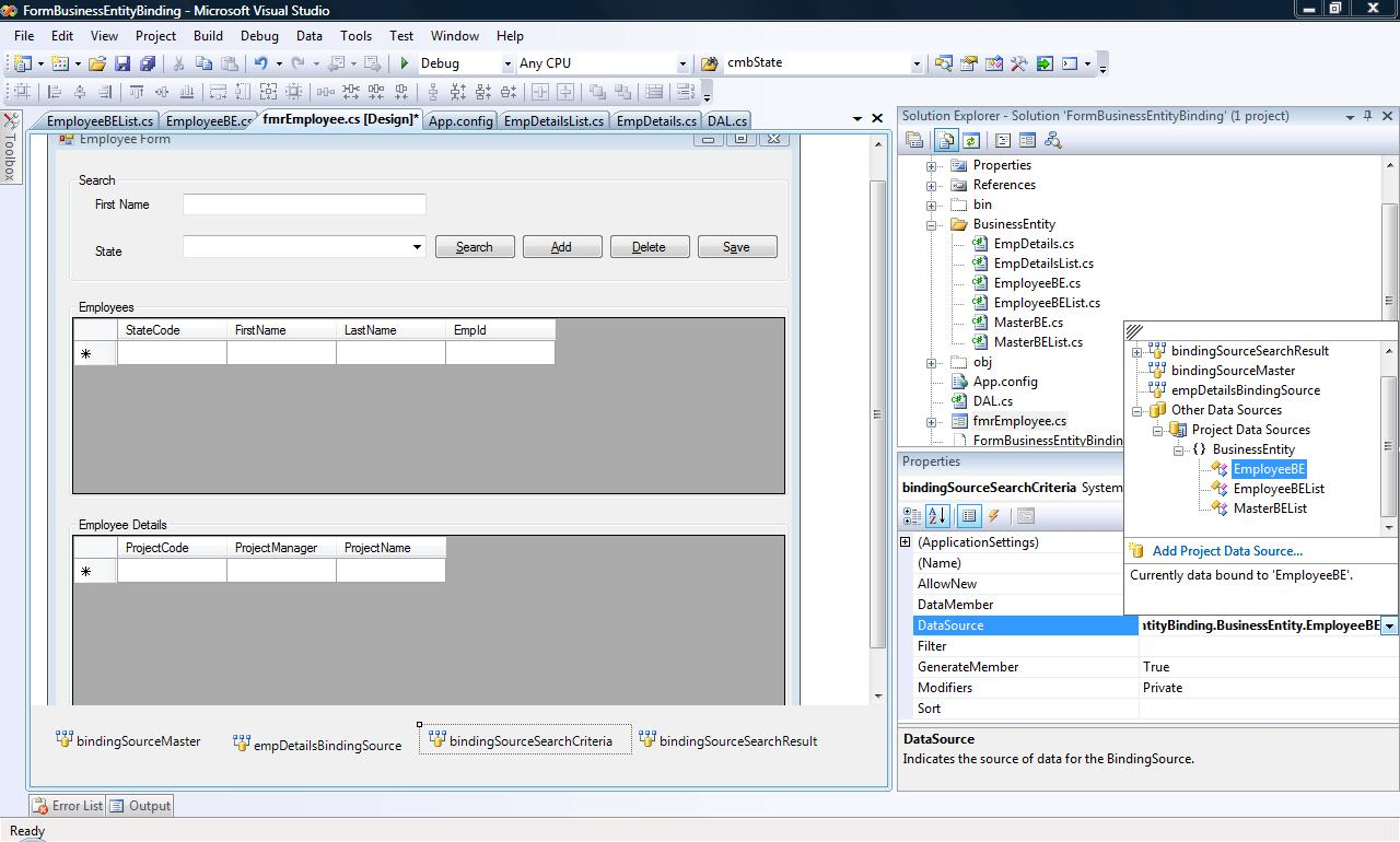 Databinding - Bindinglist, BindingSource and BusinessObjects - Part