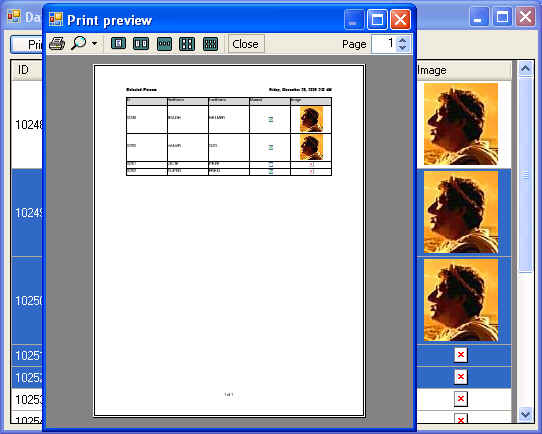 DataGridView Printing by Selecting Columns and Rows