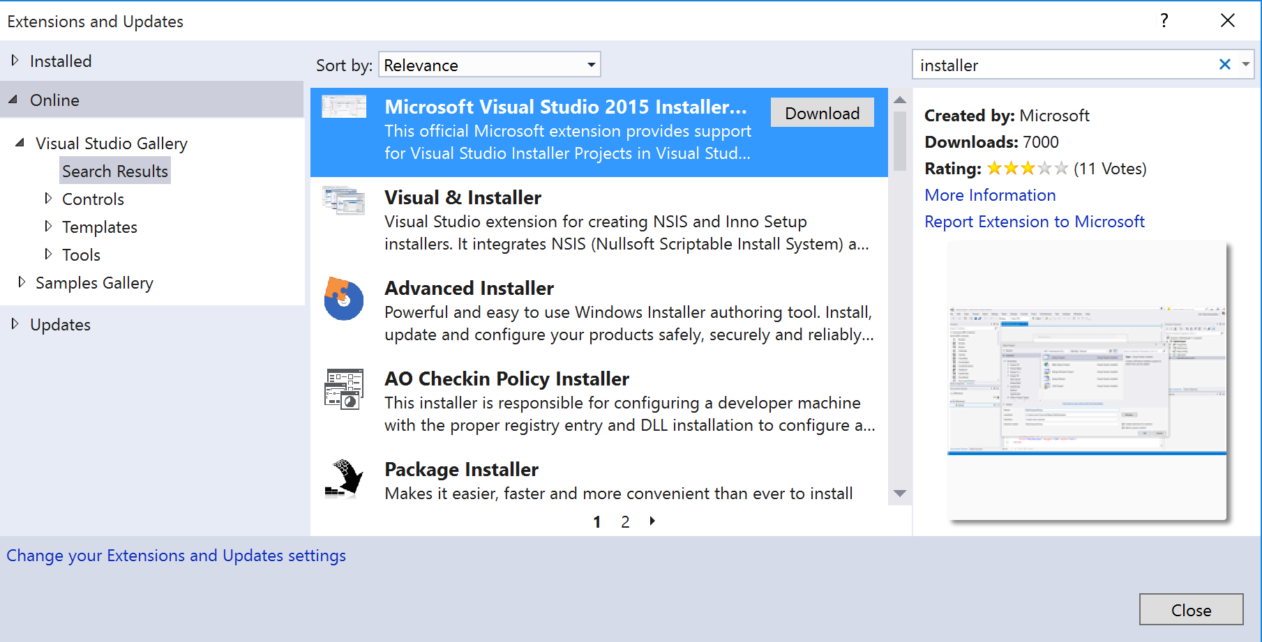 Create custom dialogs for an Setup project in Visual Studio 2015