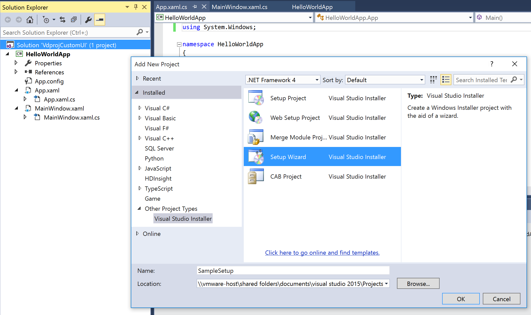 Create custom dialogs for an Setup project in Visual Studio