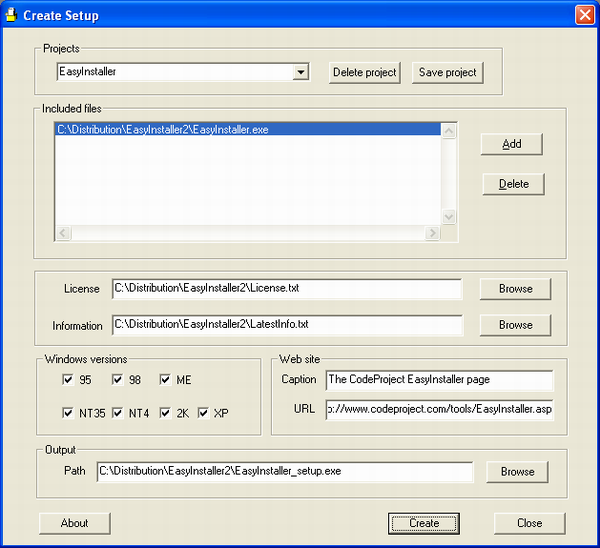 Create Installer screenshot