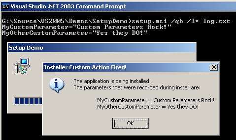 How to Pass Command Line Arguments to MSI Installer Custom