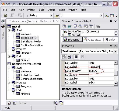 Set a password textbox for Visual Studio  NET setup project