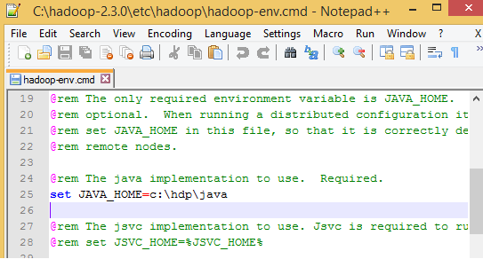 Hadoop Java Home Is Incorrectly Set Windows