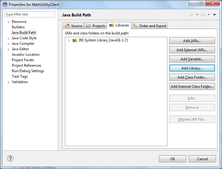 Jax ws using apache cxf to create a bottom up web service web first configure the client project to have the apache cxf libraries in the buildclass path malvernweather Choice Image